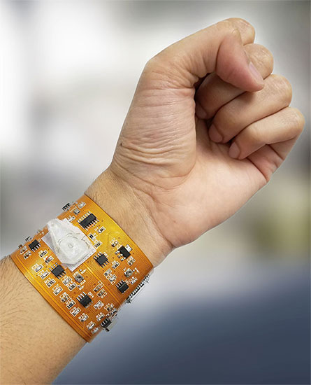 A smart wristband with a wireless connection to smartphones.